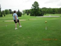 a friend playing footgolf
