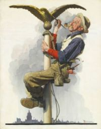 Man Painting Flagpole (Gilding the Eagle)