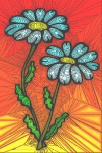 STAINED GLASS FLOWER B13