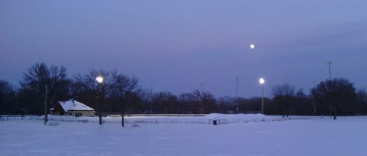 moonrise over the hockey rink