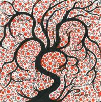 Black Tree with Red & Gray