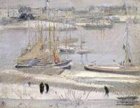 William Nicholson, Harbour in Snow, La Rochelle  1938