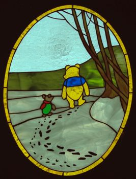 Pooh and Piglet stained glass