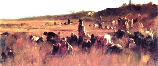 Cranberry Pickers, Nantucket by Eastman Johnson
