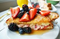 Berry cream cheese stuffed French toast