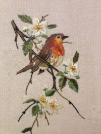 Hand embroidered robin