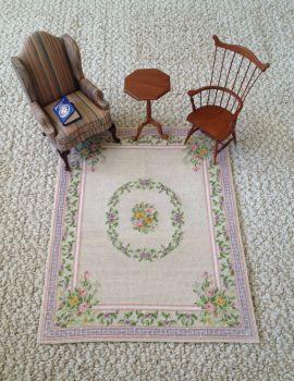 Miniature Aubusson Rug for Dollhouse