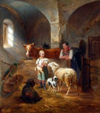 In the Stall by Benno Adam (1812-1892)