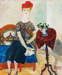 Olle Olsson-Hagalund Artwork  -  'Dame med Katte'