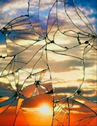 Photographs of Sunsets as reflected through broken mirror