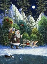 Christmas Scene - Art by Lyn Bywaters,  'Santa Cross Country'