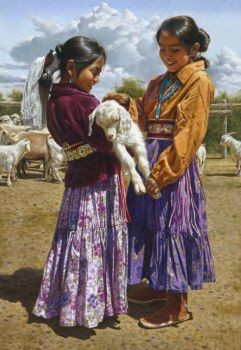 Two Navajo girls talking about the lamb