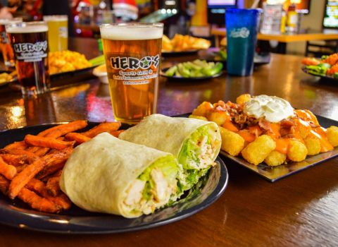 Chicken wrap sandwich at Hero's Sports Grill