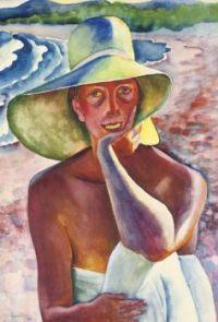 Conrad Felixmüller (1897-1977)  Londa in a Straw Hat