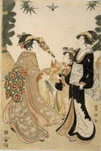 Utagawa Toyokuni: Tres bellas jugando Raqueta y Volante, 1800