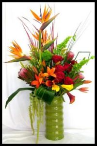Happiness is..... Beautiful Vase of Tropical Flowers.