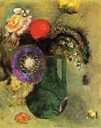 Flowers in Green Vase with Handles  Artist Odilon-Redon-oil-painting