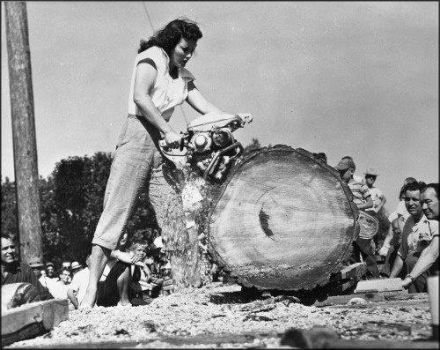 Jeri Smith was the winner of the lady loggers contest at the 1953 Timber Days Festival in Sutherlin Oregon