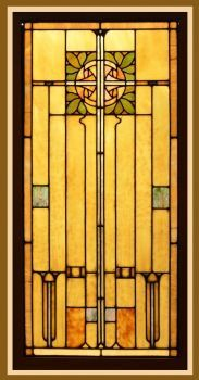 Antique American Arts and Crafts Style Stained Glass Panel set in Zinc came