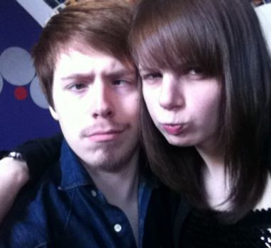 my eldest son and his girlfriend.......acting silly again for the camera lol