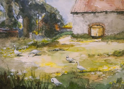 Old Barnyard at Oasby by Ann Mackenzie