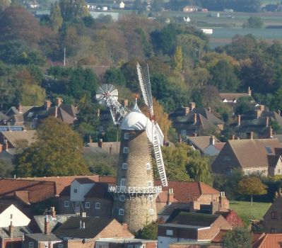 View from St Botolph's, Maud Foster windmill, Boston, Lincolnshire.  Photo by Rob Farrow