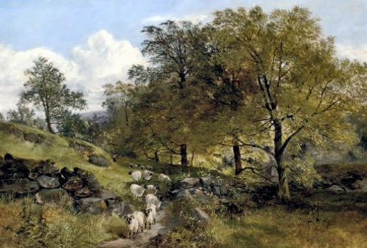 A Shepherd and His Flock on a County Path by Joseph Adam