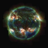 The Sun in three colors of ultraviolet light