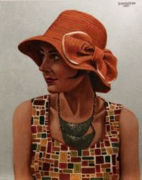 Painting of 1920s Girl Flapper