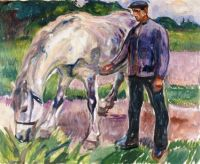 Edvard Munch--Man with Horse, 1918