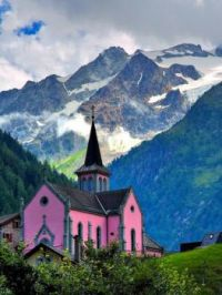 Pink Chapel in the Swiss Alps...