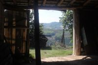 From inside the barn