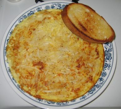 Hashbrown Omelet with Fried Toast