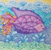 Fish in colored penciil