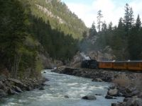 Durango to Silverton railroad and Animas River, CO