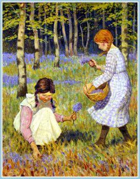 Girls Picking Bluebells