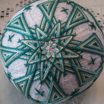 Auntie Jan's Temari Balls - blue star