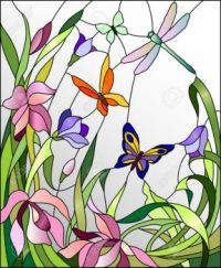 48768484-Stained-glass-window-with-flowers-and-butterflies-Stock-Vector-art