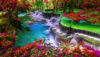 Majestic waterfall in Thailand