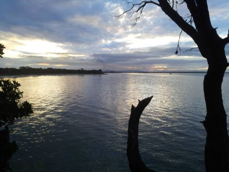 Sunset on the river at Yamba, New South Wales