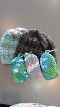 Crocheted soap bags and knit chemo hats