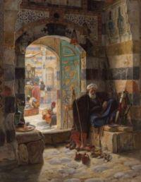 """Gustav Bauernfeind, """"Warden of the Mosque, Damascus"""", 1891"""