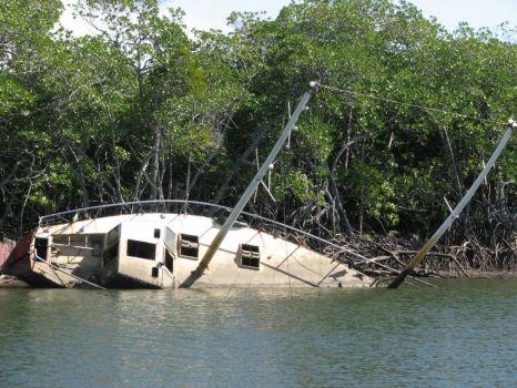 Sunken boat, Port Douglas, Australia.
