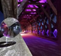 The Covered Bridge in Guelph with the Lensball