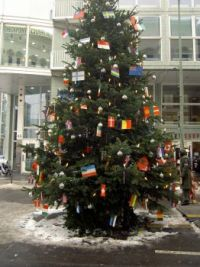 Christmas tree at Checkpoint Charly in Berlin