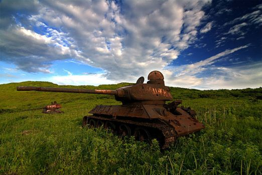 Abandoned tanks in Russian Kyrgyzstan