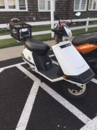 Spotted in Bethany Beach, Delaware. A Honda Elite 80 cc scooter.