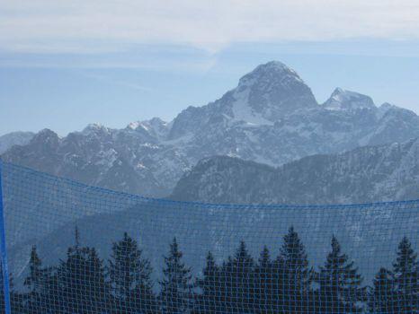 Mangart, views from the Monte Lussari skislope - Višarje, Friuli, Italy