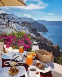 Breakfast with a view: Santorini, Greece