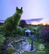 Green Pet Topiary Cat Richard Saunders